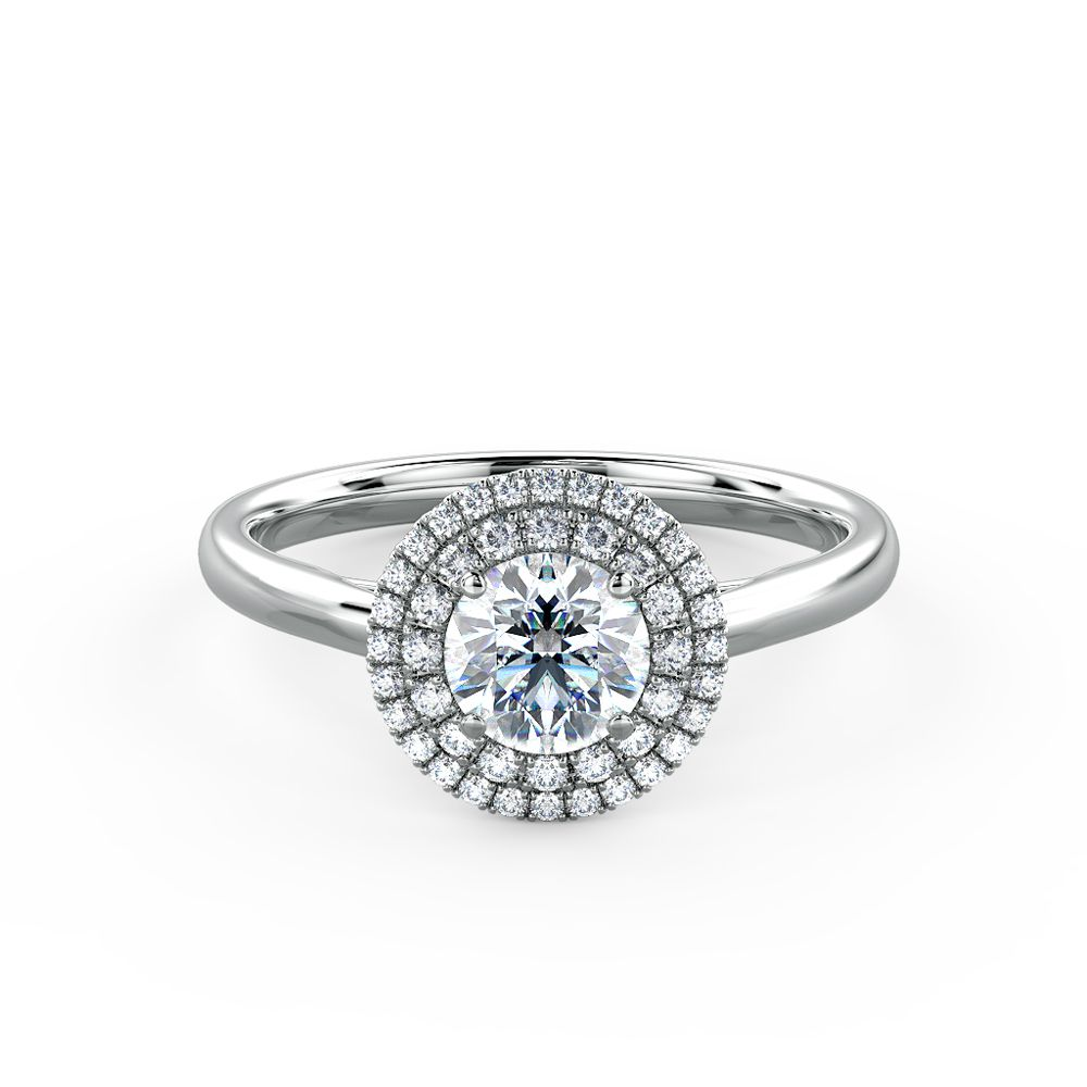 Delicate and interesting duo-halo engagement ring