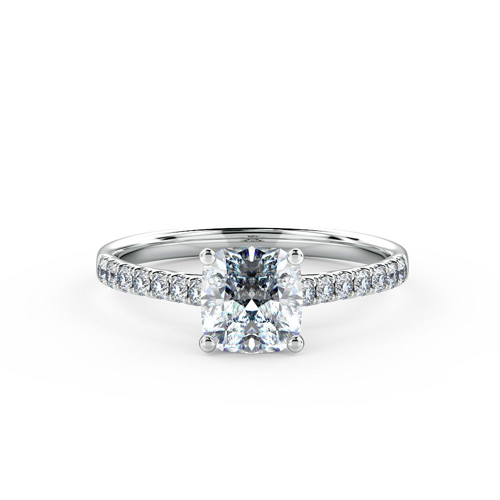 Cushion cut diamond engagement ring beautifully set using a micro-claw setting