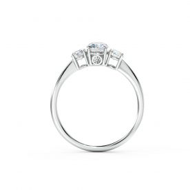 A round brilliant cut diamonds encasing a stunning oval diamond