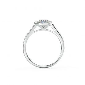 A stunning cushion halo engagement ring is beautifully set using a fine French pave setting