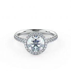 A stunning halo engagement ring beautifully set using a fine micro-claw