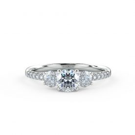 Beautifully set engagement ring using a fine micro-claw setting to the band