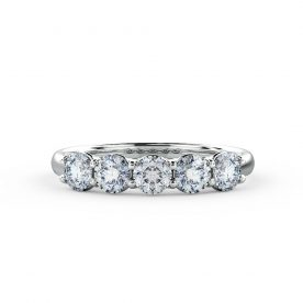 A truly classic Eternity ring set with 5 round brilliant cut diamonds