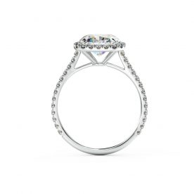 A stunning cushion halo engagement ring is beautifully set using a fine micro-claw