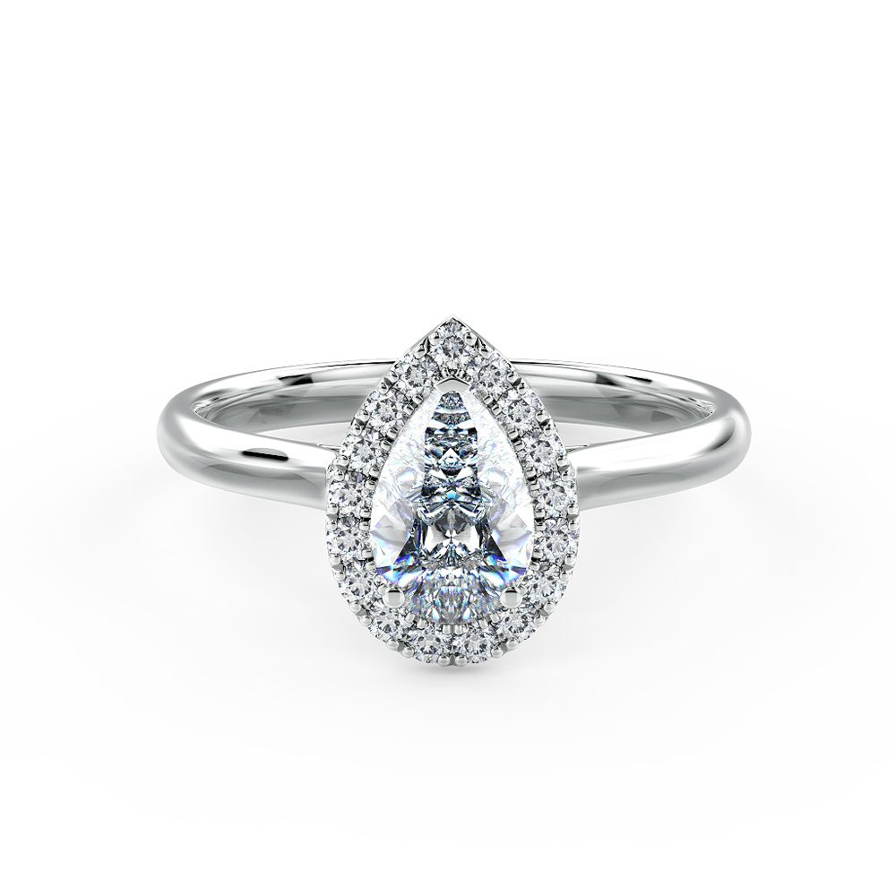 A stunning pear shaped halo engagement ring