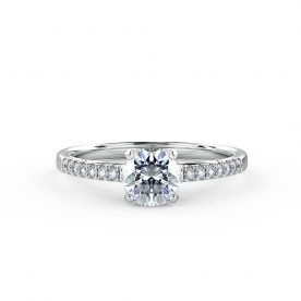 Stunning engagement ring with diamonds on a delicate band